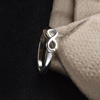 New Fashion 925 Sterling Silver Infinity Ring Statement JewelryBanquet Party Accessories for Women-Silver,10# - intl - 3
