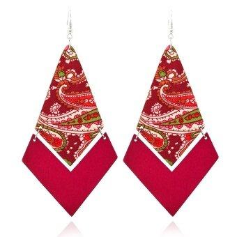New Fashion Womens Lady Jewelry Gifts Woody Geometry Stitching Pattern Earrings-Purple