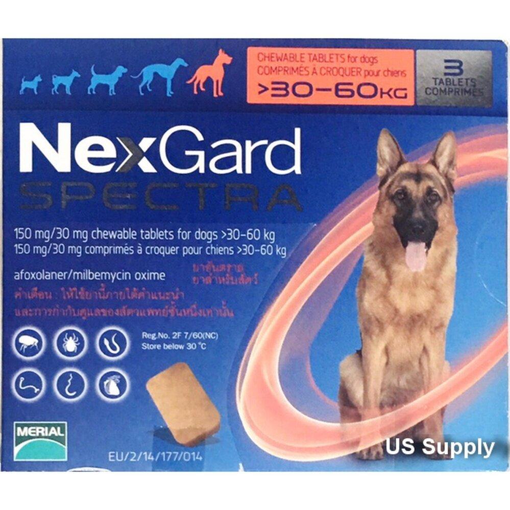 ลดสุดๆ NexGard Spectra (สุนัข 30-60 กก) +ส่งฟรี KERRY+ยากินกำจัดเห็บหมัด กันพยาธิหัวใจ ถ่ายพยาธิลำไส้ (กล่อง 3 ก้อน) ชนิดเคี้ยว EXP: 01/2020