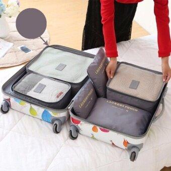 Nylon กระเป๋าจัดระเบียบเสื้อผ้าสำหรับเดินทาง 6 ชิ้น Travel Organizers Packing Pouches Set 6 Pieces