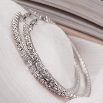 Okdeals Diamond Crystal Rhinestone Dangle Hoop Earring (Silver)