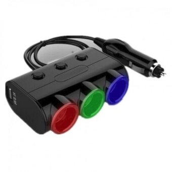 Olesson ตัวเพิ่มช่องจุดบุหรี่ในรถ 3 ช่อง 2 USB รุ่น 1523 (สีขาว)