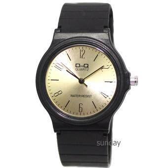 ซื้อ/ขาย OMQ นาฬิกาข้อมือสตรีหน้าปัดกลมสีทอง สายยางสีดำ