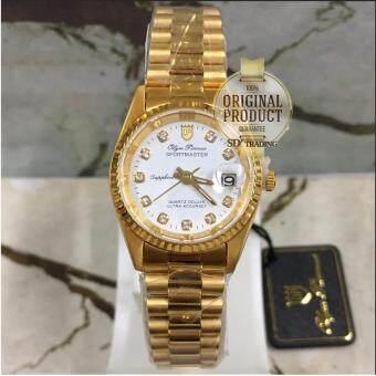 ราคา OP (Olym Pianus) นาฬิกาข้อมือผู้หญิงขอบหยัก ซัฟฟราย สายสแตนเลสทอง รุ่น 68322-403E GW (ทอง/ขาว)