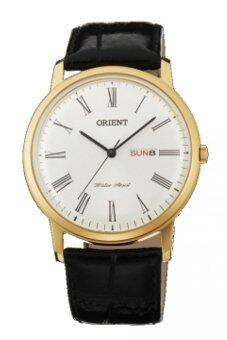 ประเทศไทย Orient นาฬิกาข้อมือผู้ชาย สีดำ/ขาว สายหนัง รุ่น FUG1R007W