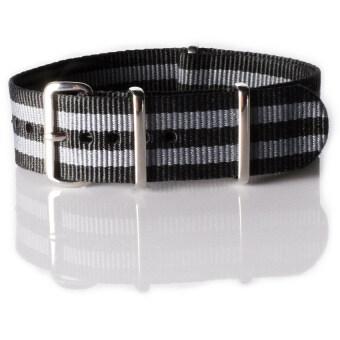 OVERWRIST สายนาฬิกา Nylon Nato Strap black and grey jamebound 22mm สาย นาโต้( สีเทา/ดำ)