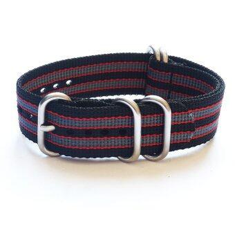 OVERWRISTNylon Zulu Strap Black Red Grey Jamebound 22mm สาย นาโต้ ซูลู ดำ แดง เทา เจมส์บอนด์ 22mm