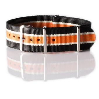 OVERWRISTสายนาฬิกา นาโต้ OVERWRIST Nylon Nato Strap Black White and Orange 22mm สาย นาโต้ (ดำ ขาว ส้ม)