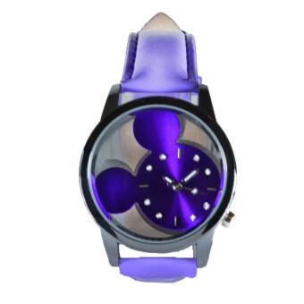 Poca Watch Mini Mouse นาฬิกาข้อมือผ้หญิง หน้าปัดกลม ตัวเรือนสแตนเลส สายหนังสีม่วง