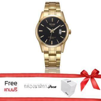 Poca Watch SWIDU SWI-022 ยี่ห้อ นาฬิกาข้อมือ เครื่องประดับ เรือนสีทอง ผู้ชาย ผู้หญิง แฟชั่น ลดราคาถูก Gold/Black กันน้ำ สาย Stainless รุ่น 3ATMGold/Black แถมฟรีกล่อง POCA