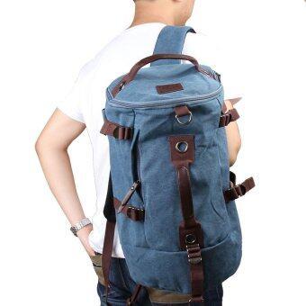 แบบพกพาผ้าใบกระเป๋าเป้สะพายหลัง Rucksack Duffle DARK BLUE