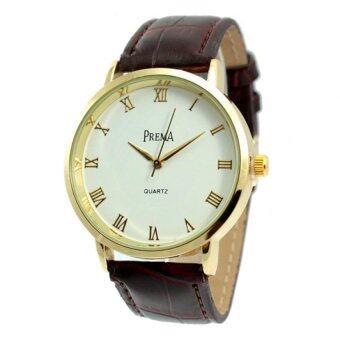 ราคา Prema นาฬิกาข้อมือหน้าปัดกลมขอบทองเลขโรมัน สายหนังสีน้ำตาล