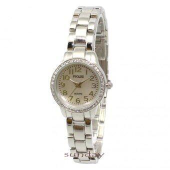 ราคา นาฬิกาข้อมือผู้หญิง หน้าปัดกลมสีดำล้อมเพชร