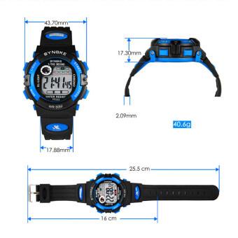 เด็กหนุ่มเด็กสาวหลายฟังก์ชันที่กันน้ำนาฬิกาข้อมืออิเล็กทรอนิกส์กีฬาสีน้ำเงิน (image 3)
