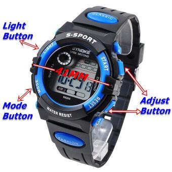 เด็กหนุ่มเด็กสาวหลายฟังก์ชันที่กันน้ำนาฬิกาข้อมืออิเล็กทรอนิกส์กีฬาสีน้ำเงิน (image 4)