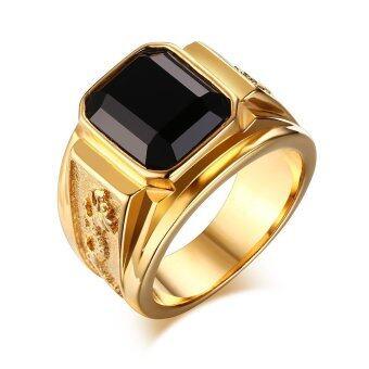 เหล็กกล้าไร้สนิมทองชุบสีดำประดับพลอยแหวนสำหรับผู้ชายการหมั้นสาวสายงาน