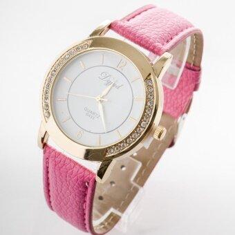 ราคา นาฬิกาข้อมือผู้หญิงประดับเพชรตรงหน้าปัดสายหนัง [สีชมพู]