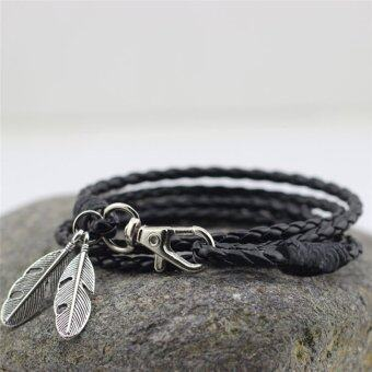 Harga PU Leather Feather Men Charm Bracelets Bangles Fashion Jewelry Accessories Black - intl