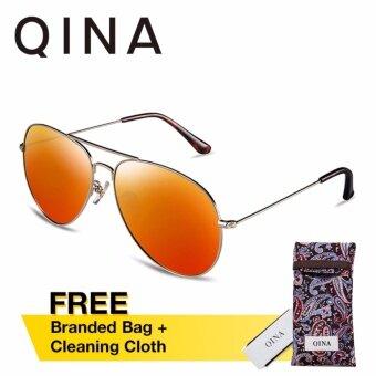 QINA แว่นกันแดดโพลาไรซ์สำหรับชายและหญิง กรอบทรงนักบินสีทองอ่อน เลนส์ป้องกันรังสี UV400 สีส้ม QN3526