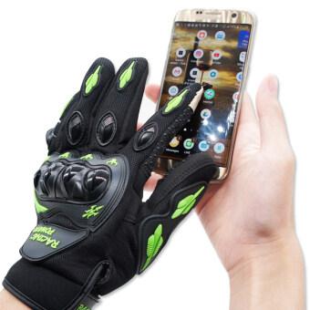 RACING POWER ถุงมือเต็มนิ้ว (พร้อมกาด) รุ่น ทัชสกีน สีเขียว