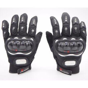 Racing ถุงมือมอเตอร์ไซค์ ถุงมือขี่มอเตอร์ไซค์ ถุงมือหนัง เต็มนิ้ว มีเกราะ Size L [สีดำ]