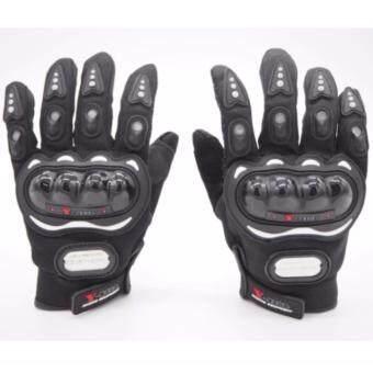 Racing ถุงมือมอเตอร์ไซค์ ถุงมือขี่มอเตอร์ไซค์ ถุงมือหนัง เต็มนิ้ว มีเกราะ Size XL [สีดำ]