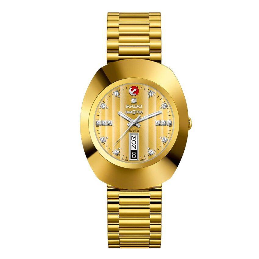 Rado Diastar Jubile Automatic นาฬิกาข้อมือสุภาพบุรุษ เพชรแท้ 15 เม็ด สายทอง รุ่น R12413703 - หน้าทอง จัดโปรลดราคาแล้ว