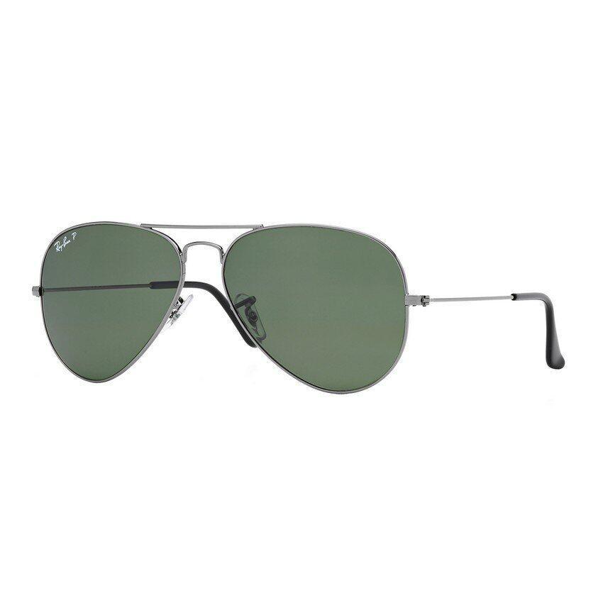 Ray-Ban แว่นกันแดด รุ่น Aviator Large Metal RB3025 - Gunmetal (004/58) Size 62 Crystal Green Polarized