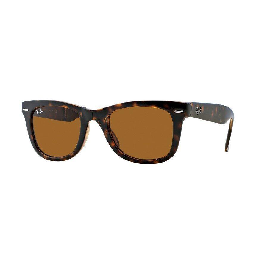 Ray-Ban แว่นกันแดด รุ่น Folding Wayfarer RB4105 - Light Havana (710) Size 50 Crystal Brown