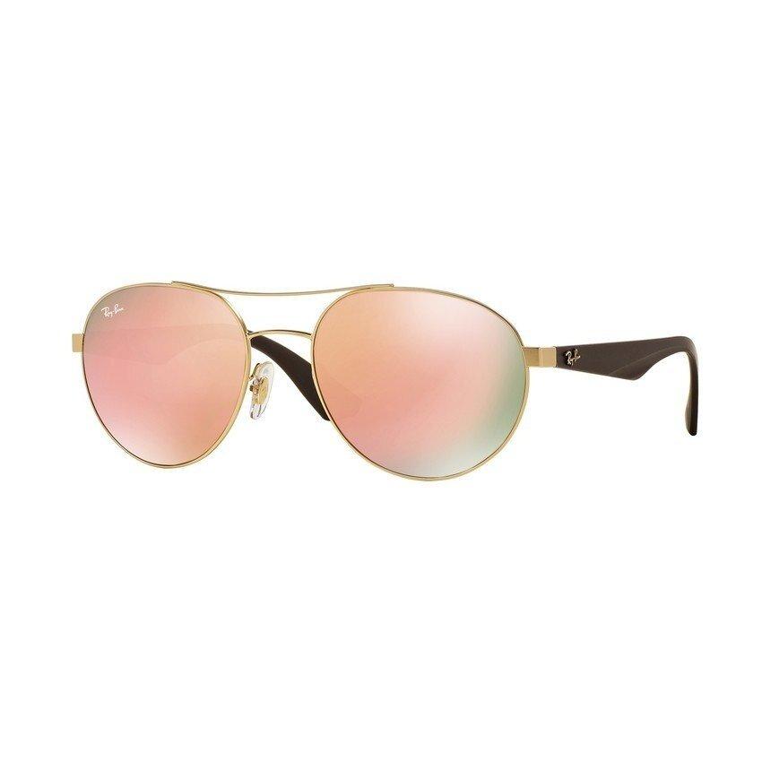 Ray-Ban แว่นกันแดด รุ่น - RB3536 - Matte Gold (112/2Y) Size 55 Light Brown Mirror Pink