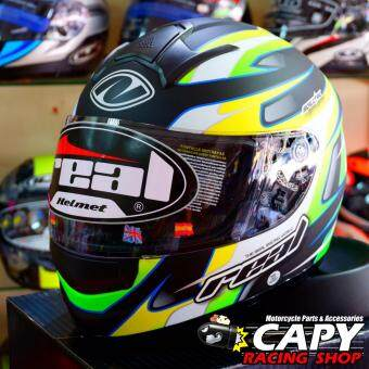 REAL helmet หมวกกันน็อก หมวกกันน็อค หมวกกันน๊อก หมวกกันน๊อค RealTornado Spectre สี ดำ-เขียว Black Green (Big Bike and motorcycleHelmet) รูบที่ 3