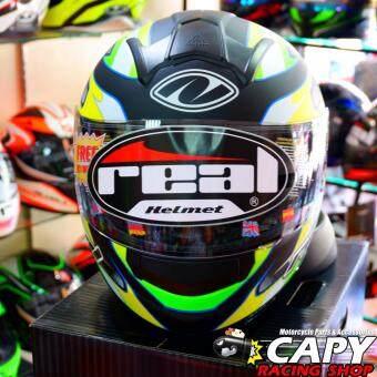 REAL helmet หมวกกันน็อก หมวกกันน็อค หมวกกันน๊อก หมวกกันน๊อค RealTornado Spectre สี ดำ-เขียว Black Green (Big Bike and motorcycleHelmet) รูบที่ 2