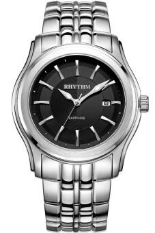 2561 RHYTHM นาฬิกาข้อมือบุรุษ สายสแตนเลส รุ่น P1213S02 - เรือนเหล็ก/หน้าดำ