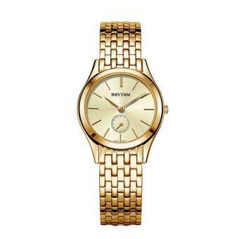 ประเทศไทย RHYTHM (รึทึ่ม) นาฬิกาข้อมือสุภาพสตรี สายสแตนเลส รุ่น P1302S04 (สีทอง)