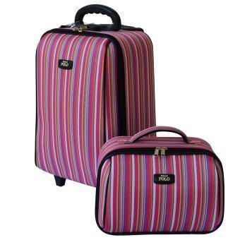 Romar Polo กระเป๋าเดินทางระบบรหัสล๊อค เซ็ทคู่ 16/12 นิ้ว ลิขสิทธิ์ของแท้ รุ่น 580-7 Lined pattern(Pink)