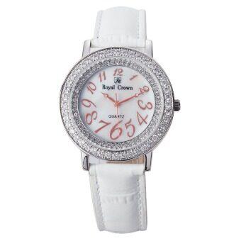 ราคา Royal Crown - นาฬิกาข้อมือผู้หญิงประดับเพชร รุ่น 3632M สายหนัง - สีขาว