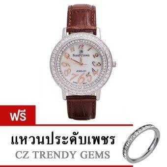 Royal Crown นาฬิกาข้อมือผู้หญิง สายหนัง รุ่น 3632M (สีน้ำตาล) ฟรี แหวนเพชร CZ