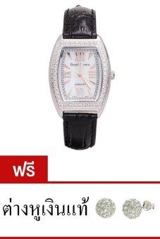Royal Crown นาฬิกาประดับเพชร หรูสไตล์อิตาลี รุ่น 3635L-Black ( แถมฟรี ต่างหูเงินแท้มูลค่า 990 บาท 1 คู่ )