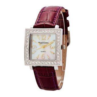 2561 Royal Crown นาฬิกาข้อมือแฟชั่นผู้หญิง รุ่น 3637 สายหนังแท้ ( สีม่วง )