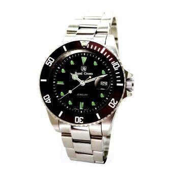 Royal Crown นาฬิกาข้อมือผู้หญิง สายสแตนเลสของแท้อย่างดี รุ่น 3663L (Black/Silver) รีวิว