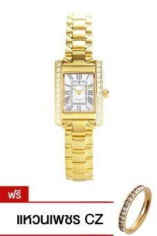 Royal Crown นาฬิกาข้อมือผู้หญิง สายสตแนเลส รุ่น 6306-SSL - Gold(แถมฟรี แหวนเพชร CZ)