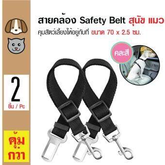 รีวิวพันทิป Safety Leash สายคล้องเข็มขัดนิรภัย ควมคุมสัตว์เลี้ยงให้นิ่ง สำหรับสุนัขและแมว ขนาด 70x2.5 ซม. x 2 เส้น