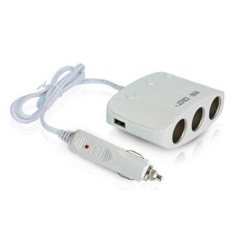 SAST AY-T11 ขยายช่องจุดบุหรี่ 3 ช่อง พร้อม usb charger 2 portพร้อมระบบป้องกันการจ่ายไฟ (สีขาว)