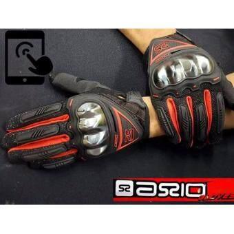 ถุงมือสำหรับขับขี่มอเตอร์ไซด์ SCIO NO.3 สีดำ แดง