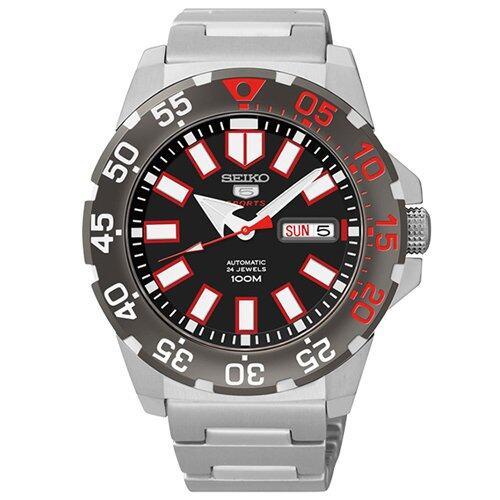 ยี่ห้อไหนดี  พังงา SEIKO Automatic Mini Monster นาฬิกาข้อมือผู้ชาย สีดำ/แดง/เงิน สายสแตนเลส รุ่น SRP487K1