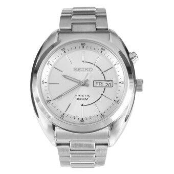 ราคา Seiko Kinetic Men s Watch Silver/White Stainless Strap SMY117P1