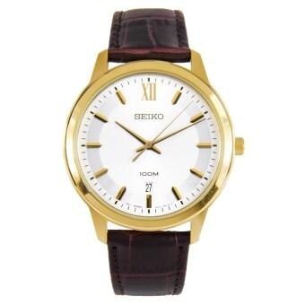 ประเทศไทย Seiko Neo Classic นาฬิกาข้อมือสุภาพบุรุษ สีทอง สายหนัง รุ่น SUR036P1