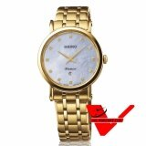 Veladeedee นาฬิกา  SEIKO Premier Diamond  Sapphire Crystal นาฬิกาข้อมือผู้หญิง สายสแตนเลสสีทอง เพชรแท้ รุ่น SXB434P1