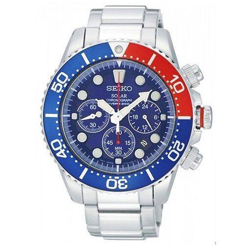 การใช้งาน  เพชรบูรณ์ SEIKO Prospex Solar Chronograph Diver s 200 m. นาฬิกาข้อมือผู้ชาย สีน้ำเงิน/แดง/เงิน สายสแตนเลส รุ่น SSC019P1