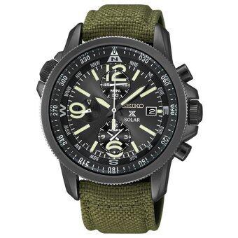 SEIKO Prospex Solar Chronograph นาฬิกาข้อมือผู้ชาย สีดำ/สีเขียว สายผ้า รุ่น SSC295P1
